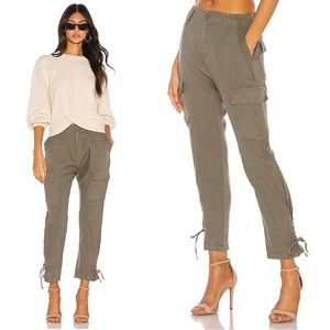Joie Telutci Linen Pant in Fatigue Olive Green 0